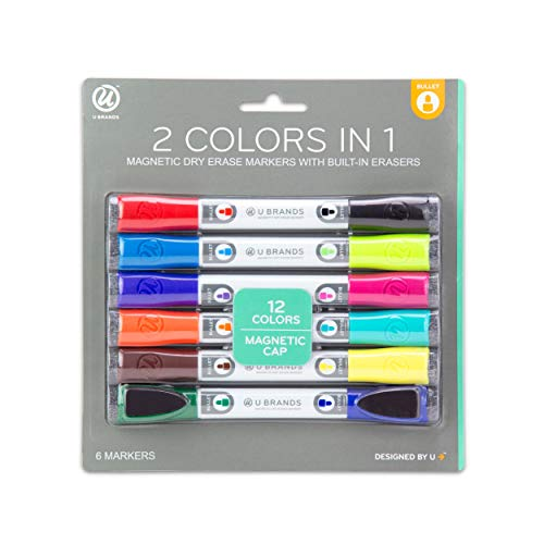 - U Brands Low Odor Magnetic Double Ended Dry Erase Markers With Erasers, Bullet Tip, Assorted Colors, 6-Count
