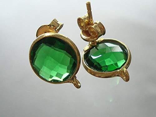 Beautiful Emerald Green Quartz Faceted 11mm Coin Briolette, 22K Vermeil Bezel Rim, Jolie Earrings Post, 2 pcs, Sale 20% -01 ()