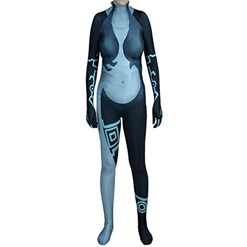 Bailu Womens Midna Cosplay Costume Halloween Bodysuit Lycra Zentai(X-Large,Blue)
