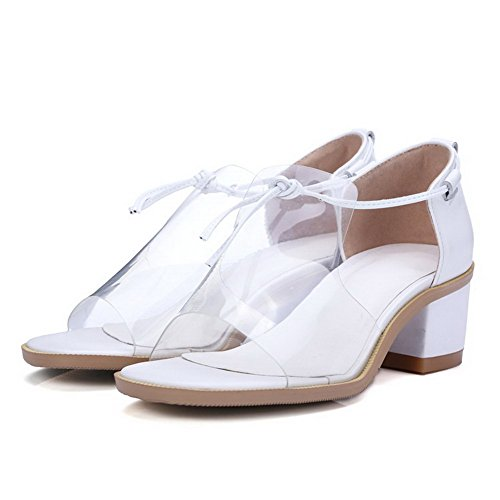 Amoonyfashion Mujeres Cow Leather Solid Lace-up Open-toe Kitten-heels Sandals Blanco