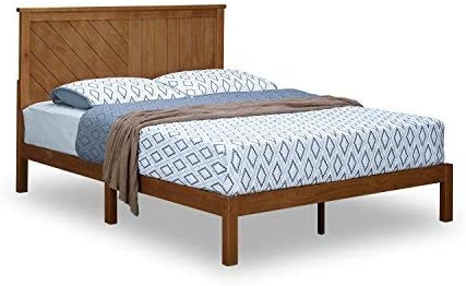 MUSEHOMEINC Solid Wood Platform Bed Deluxe Unique Style Design with Headboard, Natural Finish, Queen