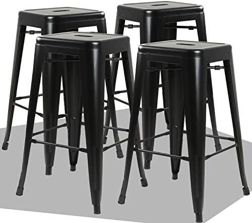 Waleaf 24 inches Metal Stools Indoor Outdoor Counter Height Stackable Bar Stool Modern Style Restaurant Cafe Chic Bistro Side Stool. Set of 4 Black