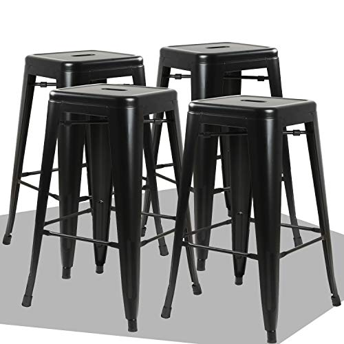 Waleaf 24 inches Metal Stools Indoor/Outdoor Counter Height Stackable Bar Stool Modern Style Restaurant Cafe Chic Bistro Side Stool. Set of 4(Black) ()