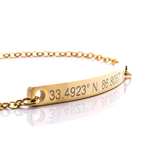 Bracelet ❤️ Same Day Shipping Coordinate Bar Bracelet Engraving 16k Gold Plated Dainty GPS Personalized dainty Initial Charms Bridesmaid Mothers day gift Best Graduation Day gift ()