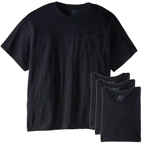 Fruit of the Loom Mens 4Pack Black Pocket Crewneck T-Shirts Undershirts 3XL