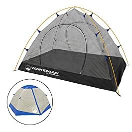2-Person Backpacking Tent- Waterproof Floor & Rain Fly, & Carry Bag by Wakeman Outdoors