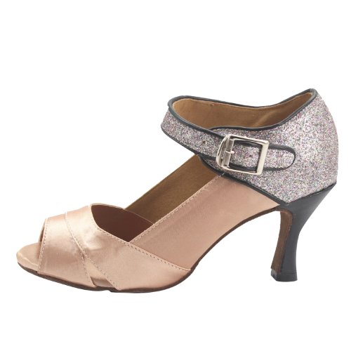 Dance Shoes 3''heel and natural Satin Soft Msmushroom Glitter Woman's wnqTapx