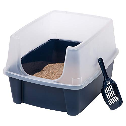 Open-Top Large Pet Cat Kitty Litter Box Pan with Shield Enclosure and Scoop ()