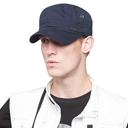 - CACUSS Men's Caps Army Hat Cotton Classic Military Hats Adjustable Comfy Cadet Hat Vintage Flat Top Cap Baseball Cap (Navy)