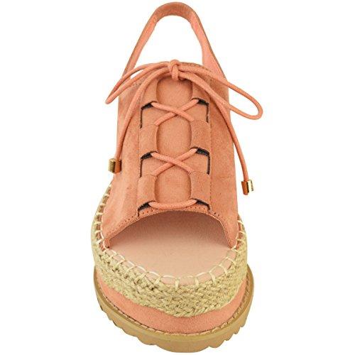 Mujeres Damas Alpargatas Plataforma Plana Sandalias de cuña ENCAJE TIRA TRASERA Zapatos número Melocotón Ante Imitación