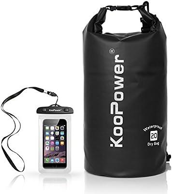 95c9e00894b8 Koopower Waterproof Bag Drybag 20L Dry Gear Backpack with Universal Waterproof  Phone Case for Boating