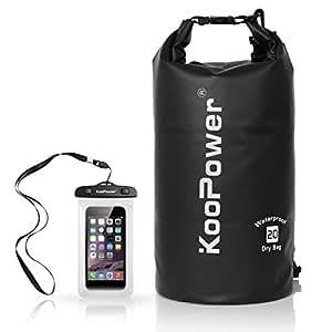 Waterproof Bag Drybag 20L Dry Gear Backpack with Universal Waterproof Phone Case for Boating, Kayaking, Rafting, Fishing, Camping, Canoeing, Swimming, Snowboarding, Driving (Black)