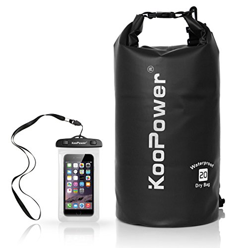 - Koopower Waterproof Bag Drybag 20L Dry Gear Backpack with Universal Waterproof Phone Case for Boating, Kayaking, Rafting, Fishing, Camping, Canoeing, Swimming, Snowboarding, Driving (Black)
