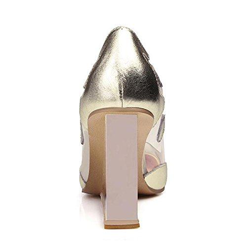 L@YC Frauen Leder High Heels Hang Mit Flachen Mund Spitzte Kleine GrößE Transparente Rote Hochzeit Gold