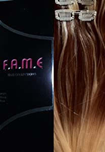 Balayage Ombre Dip Dyed Clip In Human Hair , 18\u0026quot; Brown Highlight in Bleach Blonde