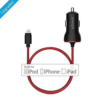 Anker 12W USB Car Charger Combo iPad Pro//Air 2//Mini PowerDrive with 3ft Apple MFi-Certified Lightning Cable for iPhone Xs//XS Max//XR//X//8//7//6//Plus and More AK-A2307011