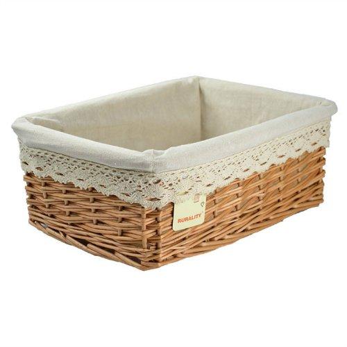 RURALITY Plain and Elegant Wicker Storage Basket with Liner,Medium (Lined Wicker Baskets)