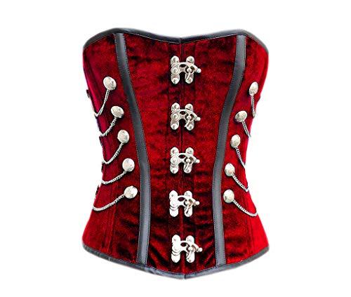 Red Velvet Black Leather Stripes Plus Size Costume Waist Shaper Overbust -