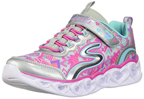 Skechers Kids Girls' Heart Lights Sneaker, Silver/Multi, 8 Medium US Toddler