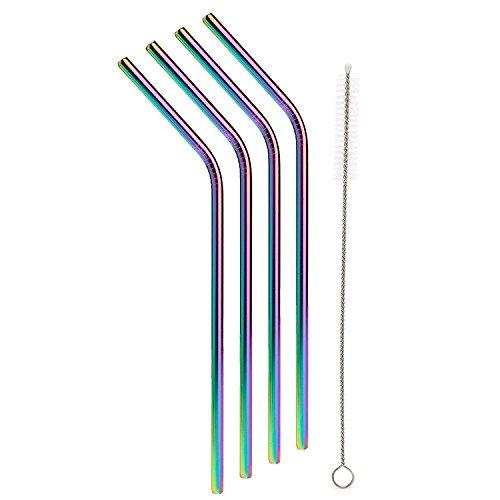 CoWalkers Conjunto de 4 Pajitas de acero inoxidable,Colores de iridiscencia pajiza de acero inoxidable, para vaso de 20 oz,...