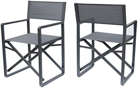 Christopher Knight Home 304604 Teresa Outdoor Mesh and Aluminum Director Chairs Set of 2 Dark Grey