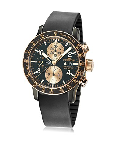 Fortis 665.13.19 K Mens B-42 Stratoliner Chronograph 18 KT Gold Chronograph Black Dial Automatic Watch