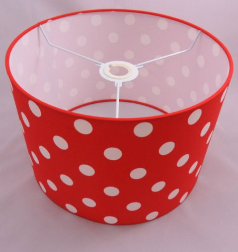 Hand made 12 bright red cotton lampshade with white polka dot hand made 12 bright red cotton lampshade with white polka dot design amazon lighting aloadofball Choice Image
