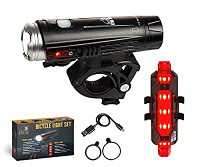 Ryno Tuff Bike Light Set, Powerful, Waterproof and Rechargeable, Super-Bright LED, 800 Lumen Front Bicycle Headlight with Side Warning Lights and Adjustable Mount Plus Free Rear Taillight
