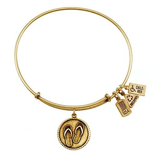 Wind and Fire Flip Flops Charm Bangle Bracelet (Antique Gold (Accent Flip Flop Charm)
