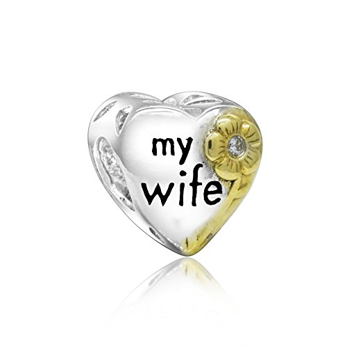 Everbling Love My Darling Wife Love My Husband Sweet Heart Family 925 Sterling Silver Bead for European Charm Bracelet (My Wife Golden Heart)