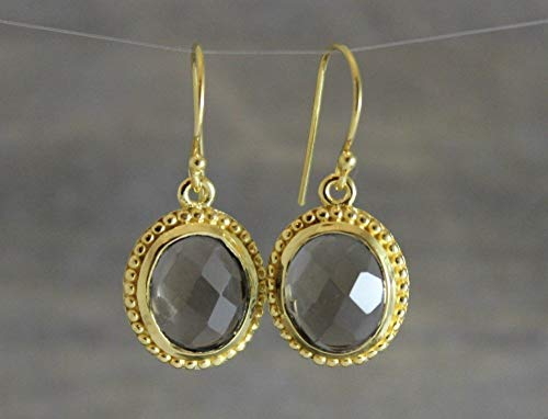 Brown Rose Earrings - Brown Smoky Quartz Gemstone Gold Plated Sterling Silver Earrings Gifts for Women