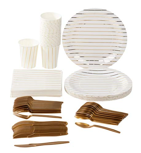 Disposable Dinnerware Set - Serves 24 - Elegant Party Supplies, Gold Foil Stripes Design, Includes Plastic Knives, Spoons, Forks, Paper Plates, Napkins, Cups, Birthday, Bridal Shower Party Pack -