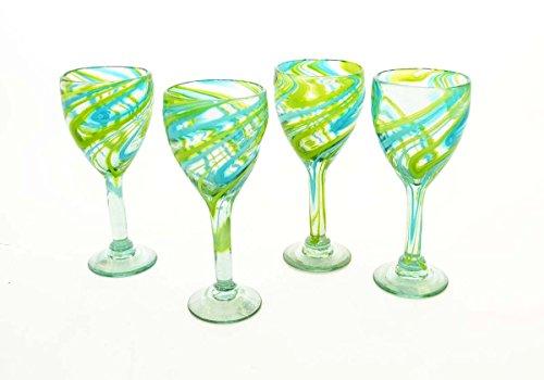 Set of 4, Aqua/Lime Swirl Wine Glasses-12 ounces