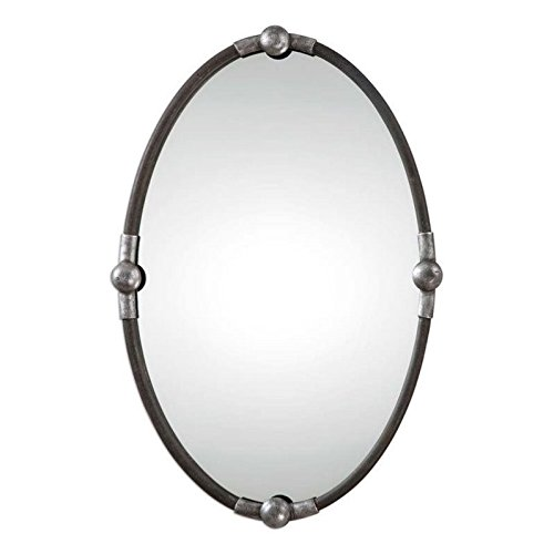Oval Mirror in Rust Black Finish