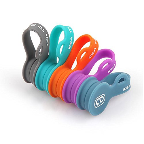 E-Clip Magnetic Cable Winder Earphone Wrap Cord Organizer Soft Silicone for Headphones/ Date USB Cable, Use as Bookmarks/ Keychain, Cable Straps/ One Step To Organize Your Disordered Cables. (5 Pack)