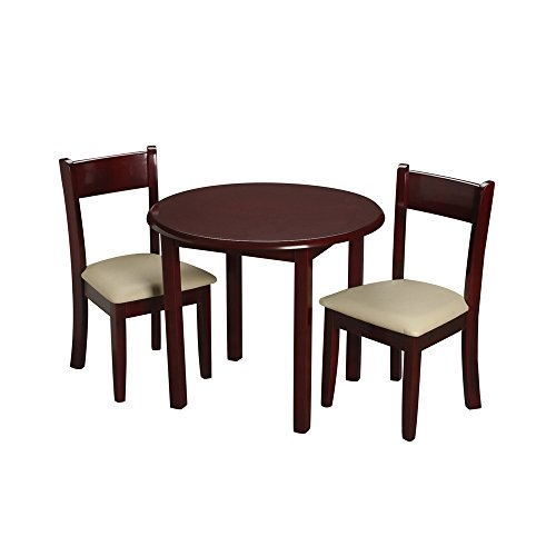 Gift Mark Children's Cherry Round Table with 2 Matching Upholstered Chairs by Gift Mark
