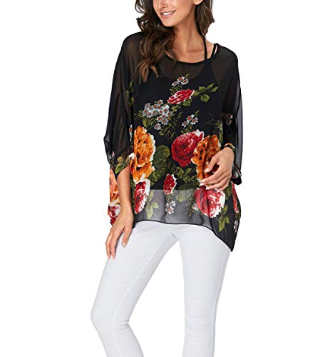 Wiwish Women Summer Floral Printed Batwing Sleeve Top Chiffon Poncho Casual Loose Shirt Beach Blouse Tunic Tops ()