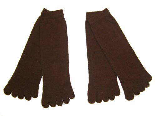 RSG Hosiery Men's & Women's Toe Socks (2 Pairs) (Brown Toe Socks)