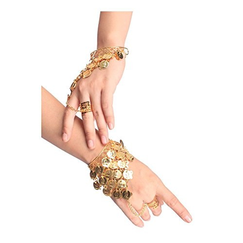 Making Supplies Belly Costume Dance (Wowlife One Pair Belly Dance Bracelet Costume Coin Hand Decoration Wrist Bangle Ring Gold/Silver)