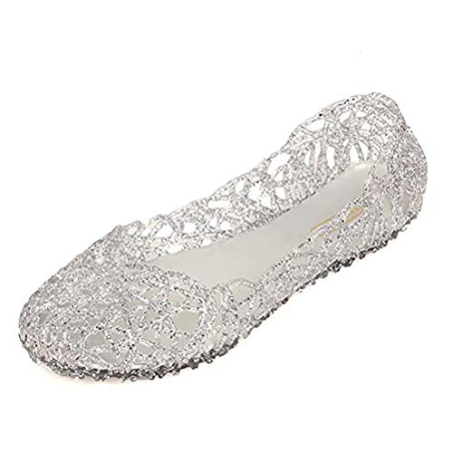 - Sketo Women's Bird Nest Layered Lines Jelly Ballet Flats US Size 9 Silver