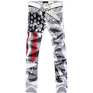 Krralinlin Men's Slim Fit Printing Designed Causal Pants Skinny Demin Jeans