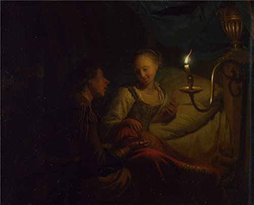 - The Polyster Canvas Of Oil Painting 'Godfried Schalcken A Man Offering Gold And Coins To A Girl ' ,size: 12 X 15 Inch / 30 X 38 Cm ,this Art Decorative Prints On Canvas Is Fit For Home Office Decor And Home Decor And Gifts