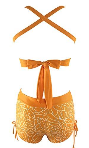 8443f31b69 Century Star Push Up Athletic Two Piece Bikini Set Deep V Neck Vintage  Halter Back With