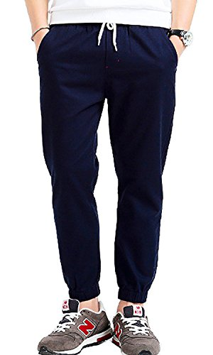 TBMPOY Men's Chino Loose Fit Washed Jogger Pant Straight Tapered Cargo Trousers(2navy,us XL) - Mens Blended Chino