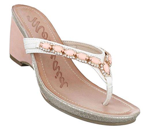 Damen Sandalen Schuhe Sommerschuhe Strandschuhe Zehentrenner Pantoletten Sandaletten Schwarz Weiß 36 37 38 39 40 41 Model Nr1Weiß