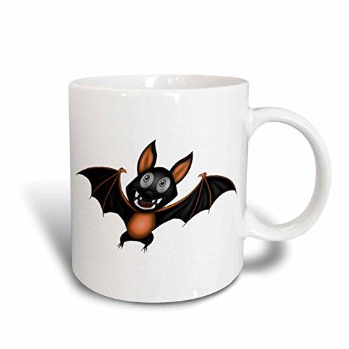 3dRose Anne Marie Baugh - Halloween - Cute Orange and Black Halloween Bat Illustration - 11oz Mug (Cute Halloween Pic)