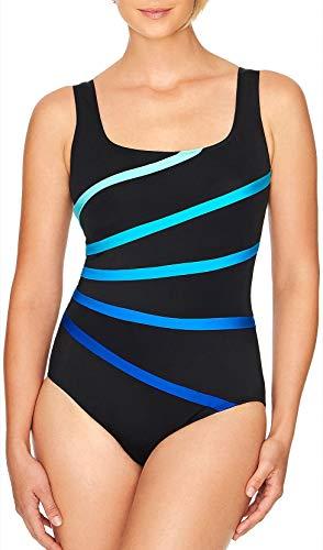 Longitude Womens Colorblock Banded Fan One Piece Swimsuit 14 Blue/Black - Longitude Piece One