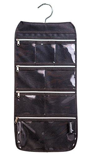 MISSLO 8 Zippered Pockets Travel Jewelry Roll up Organizer with Rotatable Hanger (Black) ()