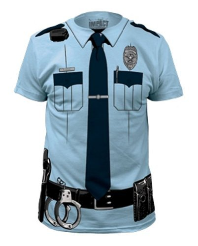 Johnny Law Police Costume T-Shirt Light Blue ()