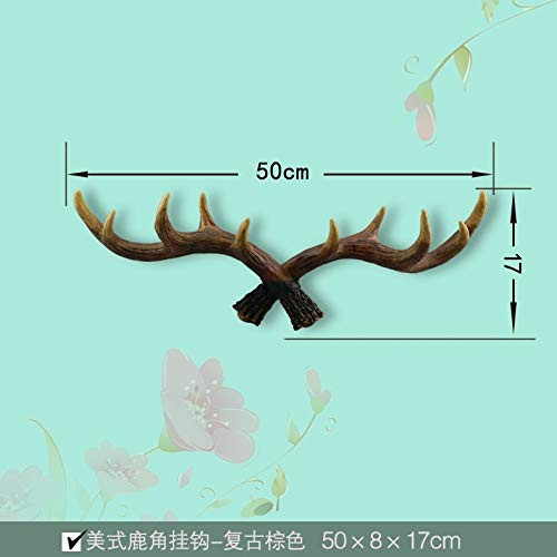 (American-Style Complex Ancient Chinese Decorative Hangers Key Hooks Coat Hooks Creative Living Room Wall hangings Antlers Coat Hooks Wall (Small Retro Brown Antlers)